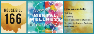 3 panel picture with an outline of the state of Ohio, a multi-colored outline of a human head, and the text House Bill 166 - Supporting Mental Wellness in Your Schools.