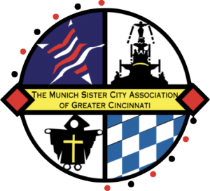 A circle logo divided into 4 quarters with icons and colors of the Munich Sister City Association.