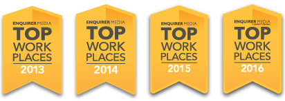 Top Workplaces badges 2013 through 2016.